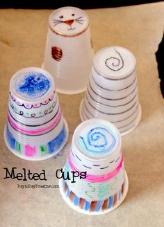 Melted Cups---fun, cool, cheap project for all ages! Fun Crafts For Kids, Summer Crafts, Cute Crafts, Preschool Crafts, Crafts To Make, Art For Kids, Activities For Kids, Arts And Crafts, Diy Crafts