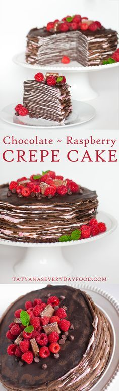 Layers upon layers of decadent chocolate crepes, dressed with raspberry mascarpone cream! This delicious chocolate cake is a chocolate lover's dream! Top each slice with raspberry sauce to make this c (Baking Desserts Chocolate) Chocolate Crepes, Tasty Chocolate Cake, Decadent Chocolate, Chocolate Lovers, Crepe Cake Chocolate, Chocolate Raspberry Cake, Chocolate Ganache, Just Desserts, Delicious Desserts