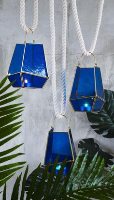 This lantern features a handle for hanging.