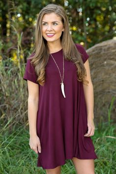My Cup of T-Shirt Dress-Wine - New Today | The Red Dress Boutique