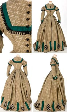 One-piece silk taffeta dress, ca. 1860s. Strips of green silk taffeta, cut on the bias, trim bodice, sleeves, and hem. Fringe and jet beads on bodice, sleeves, and hem. Bodice lined with cotton and boned; skirt is unlined. Textile Museum & Documentation Center of Terrassa (IMATEX):