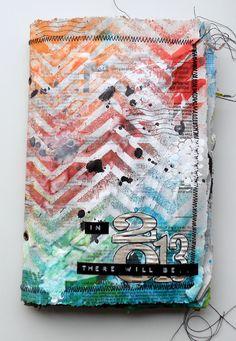 "Amazing Art journal by Nine Scrap using the Balzer Designs ""Chevron"" stencil"