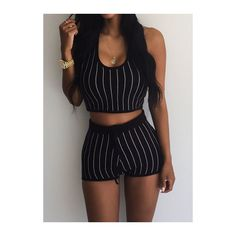 Stripe Print Hooded Collar Black Two Piece Romper ($18) ❤ liked on Polyvore featuring jumpsuits, rompers, black, two piece romper, striped romper, striped rompers, long-sleeve rompers and print romper