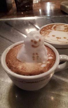 3D Snowman Latte Art
