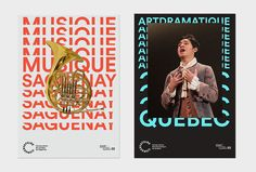 there is consistency between the set of poster. Indeed in the two there is a repetion of the title with a photo above the text. This effect is probably created to show the power of the orchestra. Also the margins are very visible . Design Blog, Art Design, Book Design, Layout Design, Layout Inspiration, Graphic Design Inspiration, Identity, Typography Layout, Design Poster