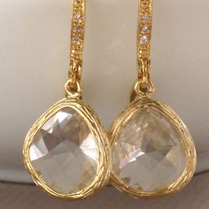 Allure Earrings  Crystal and CZ drops in Gold by ShopSomethingBlue, $36.00