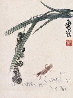 齐白石 谷子蚂蚱 26.4×19.9cm