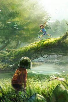 boy's adventure, Honoka Sida (why does this remind me of eren and mikasa? Fantasy Landscape, Fantasy Art, Imagen Natural, Digital Foto, Image Manga, Anime Scenery, Anime Art Girl, Cute Art, Amazing Art