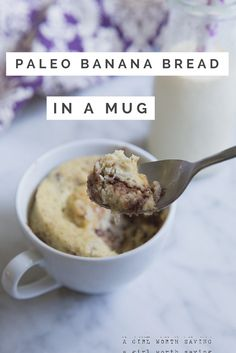 Simple and quick, this Paleo Chocolate Chip Banana Mug bread will put a smile on your face and satisfy your sweet tooth.