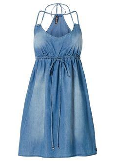 Vestido jeans azul estonado encomendar agora na loja on-line bonprix.de  R$ 129,00 a partir de Vestido jeans deslumbrante, com decote V profundo e alças ...