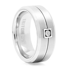 TRITON White Tungsten & Diamond Wedding Band includes free shipping. (800) 370-2646 - #mensrings #mensfashion #mensdiamondrings #mensweddingbands #dailydeals