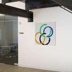 """Splatters"" shown here on 40""x40"" canvas on wall. http://www.zazzle.com/splatters_canvas_print-192253563803635067"