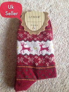 Snowflake Deer Women Wool Socks Warm Winter Socks Uk Seller