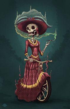 calveras, day of the dead catrina skeleton in a dress, riding a bike 3d Street Art, Illustrations, Illustration Art, Los Muertos Tattoo, Creepy, Day Of The Dead Art, Skeleton Art, Female Skeleton, Sugar Skull Art