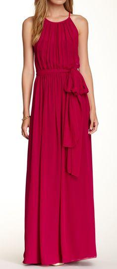 Crimson silk maxi