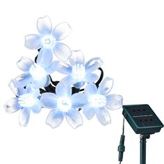 Solar Christmas String Lights,LOENDE 50 LED White Flower 23ft 8Mode Waterproof Decorative Cherry Blossom Flower Light for Thanksgiving, Christmas Tree, Xmas, Bistro ** Stop everything and read more details here! : Christmas Decorations