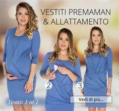 Vestito premaman & allattamento Linda colore blu jeans Vestito premaman comodo ed elegante.  - composizione: 94% viscosa, 6% lycra - lungezza circa 95 cm - manica 3/4 - adatto da indosare anche dopo la gravidanza - tessuto morbido, elastico, piacevole da indossare