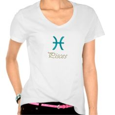 Astrology Zodiac Pisces Sun Sign T-Shirt. Metallic text and the symbol for the astrological sign Pisces in blue green aqua for your favorite fish person. The Sun is in Pisces from approximately February 19th through March 20th.       #zodiac #Pisces