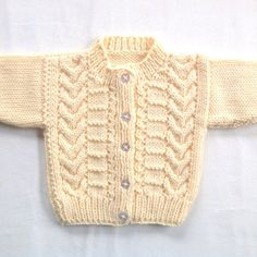 Baby cardigan 0 to 6 months Baby shower gift by LurayKnitwear Baby Cardigan Knitting Pattern Free, Baby Sweater Patterns, Baby Boy Knitting, Lace Knitting Patterns, Knitting For Kids, Baby Patterns, Free Knitting, Knit Baby Dress, Knitted Baby Clothes