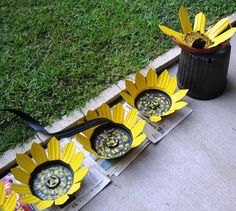 Sunflowers from recycled black pots