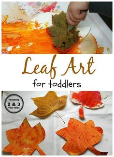 Easy Leaf Art for Toddlers - all you need are some sponges to make these colorful paper leaves! From Teaching 2 and 3 Year Olds