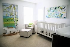 white, green, and light blue baby room...love it!