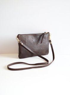 43dac3b77bc Brown Leather Crossbody Bag Minimalist Leather Purse Small Leather Wristlet Leather  Purse Simple Leather Handbag Gift - Dark Brown Leather