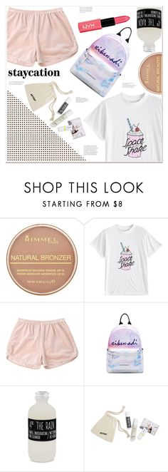 """""""staycation"""" by mycherryblossom ❤ liked on Polyvore featuring Rimmel, Belmondo, BaubleBar and NYX"""