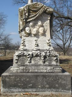 Five infant children of Theodore and Idalia Weed, Mount Muncie Cemetery, Lansing, Kansas.  As their births and deaths spanned the years of 1860 through 1865, this elaborate and beautiful stone was created and placed at a later time.  #headstone #gravestone #tombstone