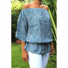 Top Duo - Woman Summer printed rayon - Tiki Blue Top by CintaTomato on Etsy