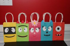 Cute Monster Treat/Favor Bags by DreamMakersNC on Etsy, $2.00  My kid loves Yo Gabba Gabba! This is a great idea. Although shipping for this particular sale is too much.