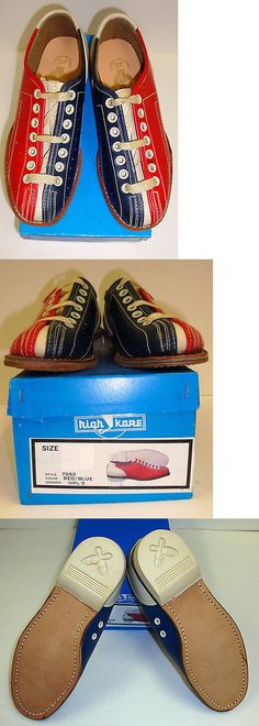 Youth 159108: Girls Lace To Toeyouth Bowling Shoes Rh/Lh Red And Blue Leather Soles Free Ship BUY IT NOW ONLY: $36.95