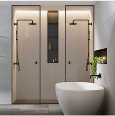 Double shower ideas in this modern and minimalist bathroom design Bathroom Taps, Bathroom Interior, Master Bathroom, Bathroom Black, Shower Bathroom, Shower Rooms, Master Shower, Basement Bathroom, Spa Shower