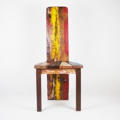 @Overstock.com - Rustica Chair - Add some eye-catching and unique rustic dining room furniture to your home with this Rustica chair. This unconventional conversation piece is made entirely of reclaimed wood and comes hand-painted to make a bold visual statement.  http://www.overstock.com/Main-Street-Revolution/Rustica-Chair/6825529/product.html?CID=214117 $324.99