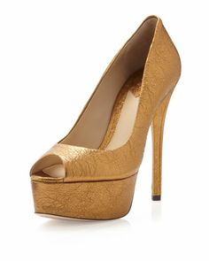 Bambola Foil Platform Pump, Gold by B by Brian Atwood at Last Call by Neiman Marcus.