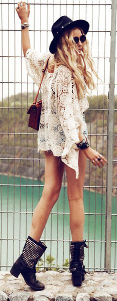 go boho. #crochet #boho #beach-the jean shorts need to be a little longer, but I like the total outfit!!