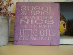 Rustic  Nursery Sign Sugar and Spice and Everything Nice by BarnDanceTradingCo