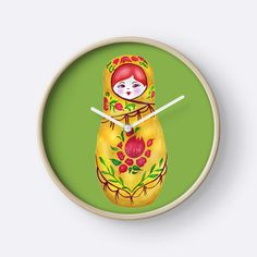 Matryoshka stacking nesting doll from Russia, traditional Russian woman, a pretty young faced peasant woman dressed or bundled up in an extravagant sarafan costume, a loose fitting traditional Russian garment. The head of the stacking doll is covered to protect her from the cold weather characteristic of Russia's notoriously harsh, long winters. The background is Pantone color of the year 2017- greenery. • Also buy this artwork on home decor, apparel, stickers, and more.