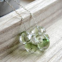Spring Green Glass Necklace by GlitzGlitter
