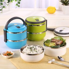 2 Layers 3 Styles Stainless Steel Lunch Box Portable Thermal Insulation Dinnerware Sets