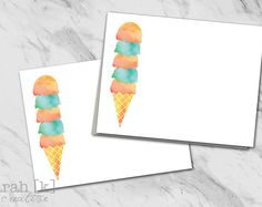 Ice cream social thank you note cards. Perfect for summer parties.