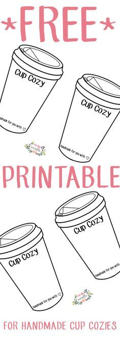 Free Printable for handmade cup mug cozies | knit, crochet, sewing | From Sewrella