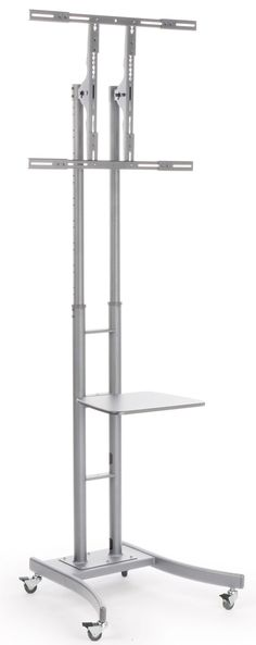 """TV Stand with AV Shelf, Fits Monitors 32"""" to 84""""+, Locking Wheels – Silver"""