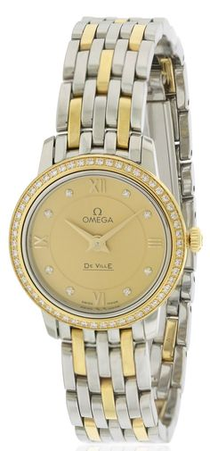 Omega DeVille Prestige Two-Tone Ladies Watch Gold Fine Watches, Cool Watches, Rolex Watches, Stainless Steel Watch, Stainless Steel Bracelet, Tag Heuer Aquaracer Ladies, Omega Seamaster James Bond, Omega Ladies, Discount Watches