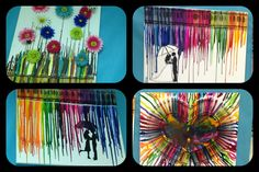 Crayon art. Melted crayons onto canvas to make picture
