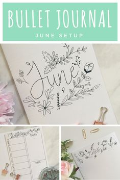 Bullet Journal monthly setup for June. I've included four differently weekly spreads. There's a flowers and leaves theme throughout my bullet journal this month. I'm also bujoing on paper rather than in my notebook this month.
