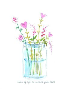 Image about text in Illustration by INMYSL Photo Watercolor Cards, Watercolour Painting, Watercolor Flowers, Painting & Drawing, Watercolours, Simple Watercolor, Drawing Flowers, Painting Flowers, Art Floral