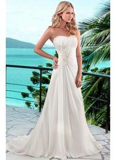 Elegant Chiffon A-line Scoop Chaple Wedding Dress For Your Beach Wedding