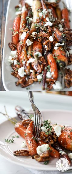 Roasted Carrots with Candied Pecans and Goat Cheese - fall Thanksgiving side dish recipes #carrots #sidedish #thanksgiving #goatcheese