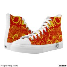 red-yellow printed shoes
